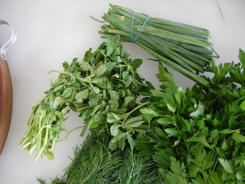 A selection of herbs - parsley, dill, fenugreek, chives.