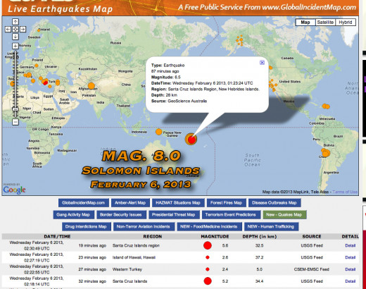 Multiply large earthquakes in the Solomon Islands and Santa Cruz regions have created tsunami danger.