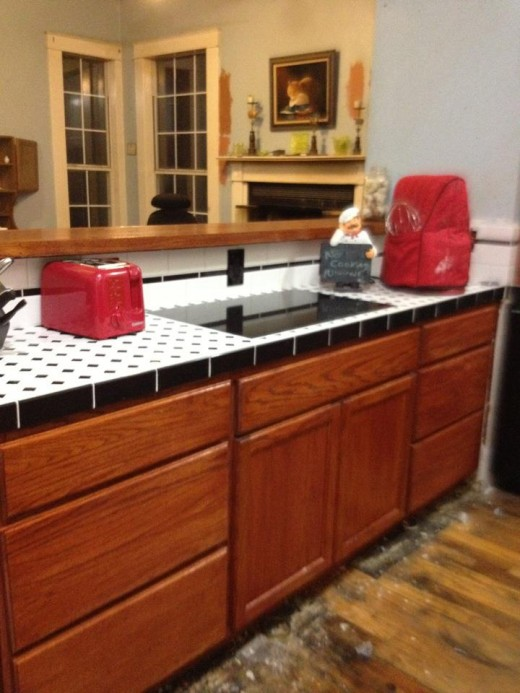 A tile counter is an inexpensive way to get a vintage look.