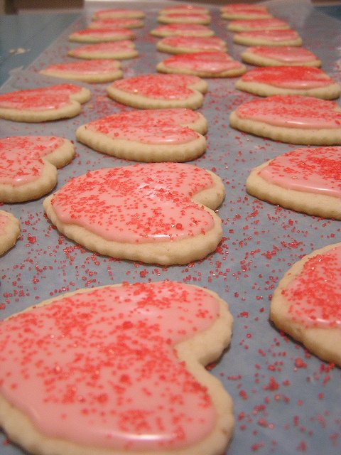 Valentine Heart Cookies with Icing and Sprinkles