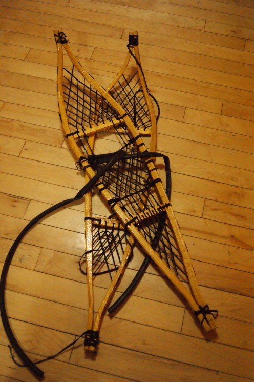 My son's hand crafted snowshoes.