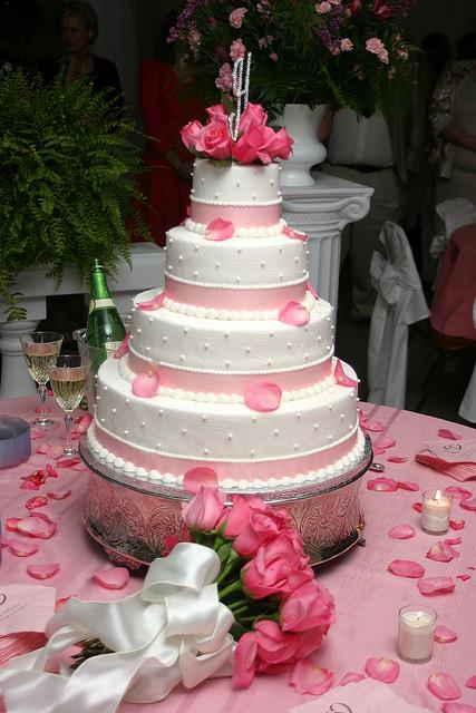 Pink Valentine Wedding Cake