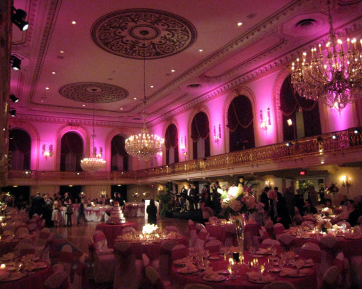 Pink uplighting wedding