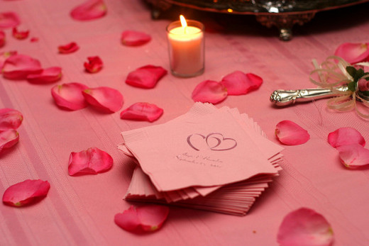 Double Heart Pink Napkins, Candle, Roses Wedding