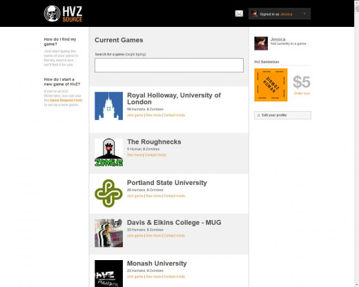 Members of HvZ Source can search for active games in their area.