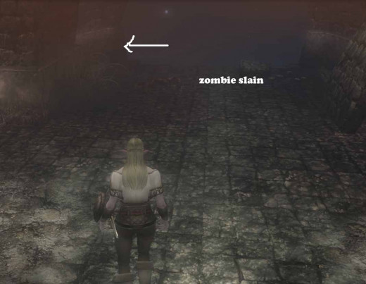 Descend the stairs to the left of the solitary zombie and continue your journey deeper into Caligrase Sewers