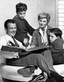 Leave It to Beaver cast (L–R): Hugh Beaumont, Tony Dow Barbara Billingsley and Jerry Mathers, circa 1959