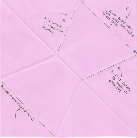 Back side of paper with remaining folds marked.