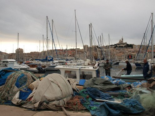 Traditional fishing at the Old Port, Marseille
