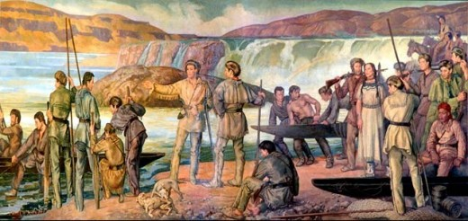 Lewis and Clark expedition mural in the Oregon State Capitol rotunda, by Frank H. Schwarz
