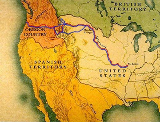 Map of the route Lewis and Clark took