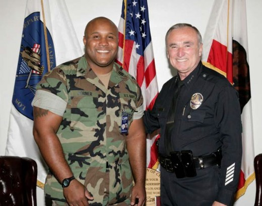 William Dorner posing with Police Chief William Bratton