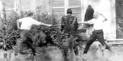 Marseille Mayor and Deputy Gaston Defferre (right) fighting a duel with Deputy René Ribière (left) in 1967