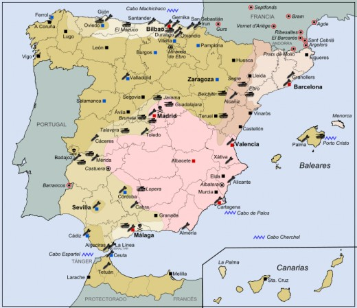 This is a general map charting the progress of the Spanish civil war. The darker colours show the Nationalist advances at the start of the war, while the lighter colours denote their advances at the end of the war.