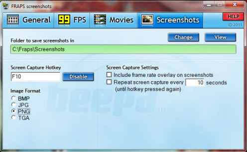 Screenshots Menu in Fraps