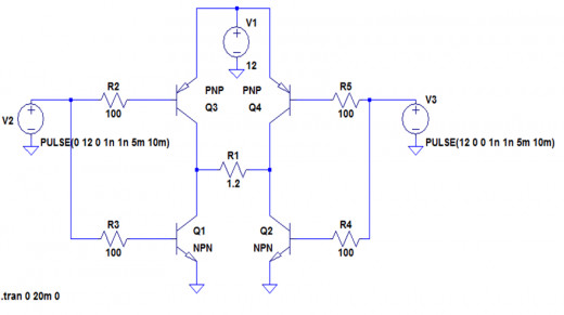 The circuit for H-Bridge simulation with ideal switches in LTSpice.
