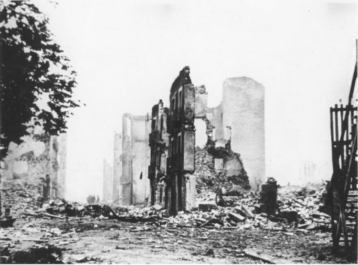 The ruins of Guernica after the relentless aerial assault by the German Condor Legion.