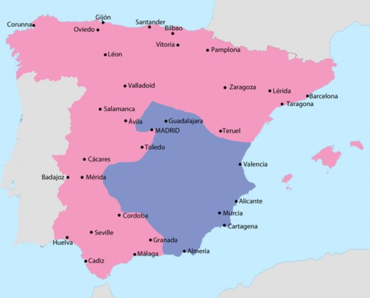 A political map showing the  iareas controlled by both sides in February 1939. The pink area is Nationalist territory, blue is Republican..