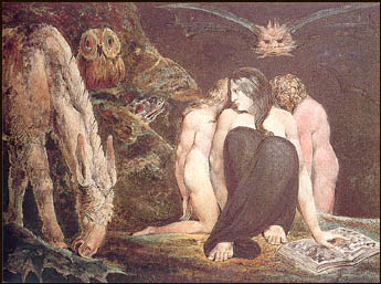 William Blake's depiction of the Triple Goddess with Hecate/Medusa at the front.