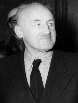 Julius Streicher, a notorious antisemite and publisher of the Der Sturmer newspaper. Here he is pictured in custody during the Nuremberg Trials.