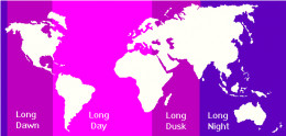 This map indicates what parts of the world will be in light or darkness during rotation stoppage.