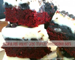 Red Velvet Oreo Truffle Cheesecake Bars make a Great Valentines Day Recipe