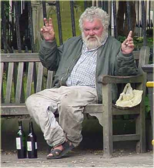 Looks comical, but alcoholics can be no joke!    Image taken from www.landingthedeal.com