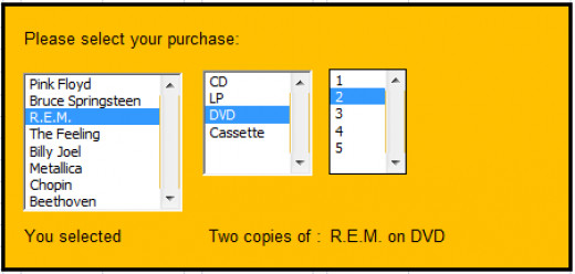 Completed Form Controls List Boxes for my music shop, created in Excel 2007 and Excel 2010.