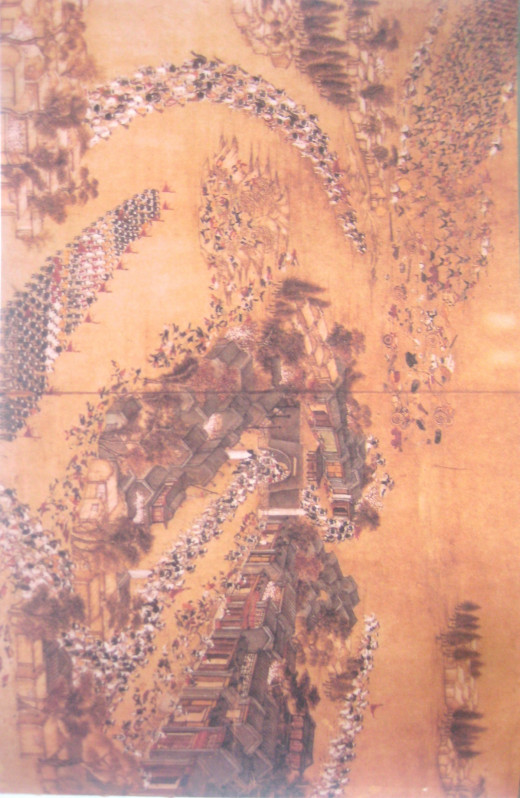 A panel in a series of 10 paintings recording the retreat and defeat of Taiping force, annihilated by the Qing forces in 1855 (Photo Source: National Geographic)