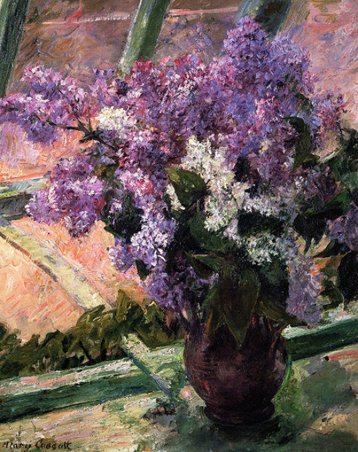 Lilacs in a Window by Mary Cassatt.