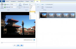 Click Edit and select speed value on Speed box to speed up videos on Window Movie Maker