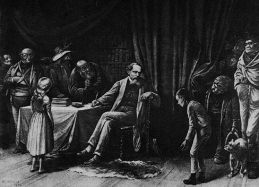 Illustration of Dickens and his characters by William Holbrook Beard