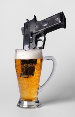Pistol In Beer Glass