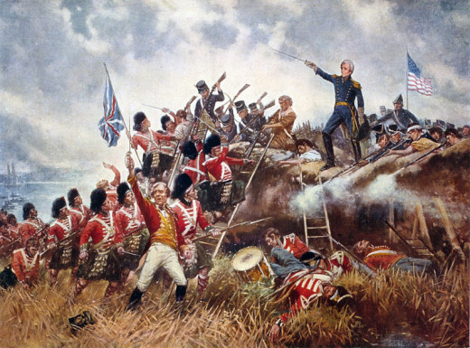 A painting depicting American general Andrew Jackson leading the US charge against the redcoat British at New Orleans.
