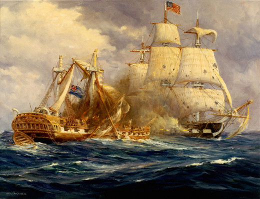 This painting depicts the first American naval victory at sea, when the USS Constitution successfully defeated HMS Guerriere.