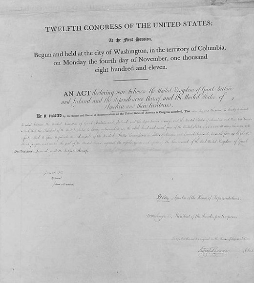 This is the official declaration of war against Britain by the United States.