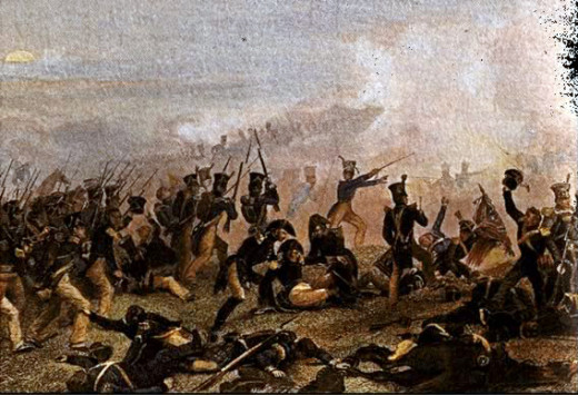 The American infantry advancing at the battle of Lundys Lane (Niagara Falls)