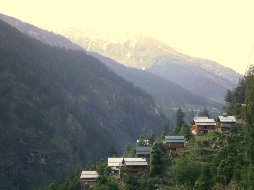 many villages in Kashmir are perched on sharp, steep mountain slopes. You also regularly see a single house crowning a mountain peak