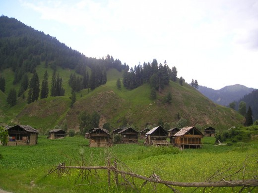 Traditional wooden houses in Taobat, Neelum Valley.