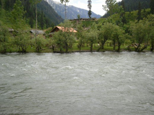 Neelum River flowing through Taobat town.