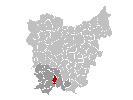 Map location of Horebeke, East Flanders province