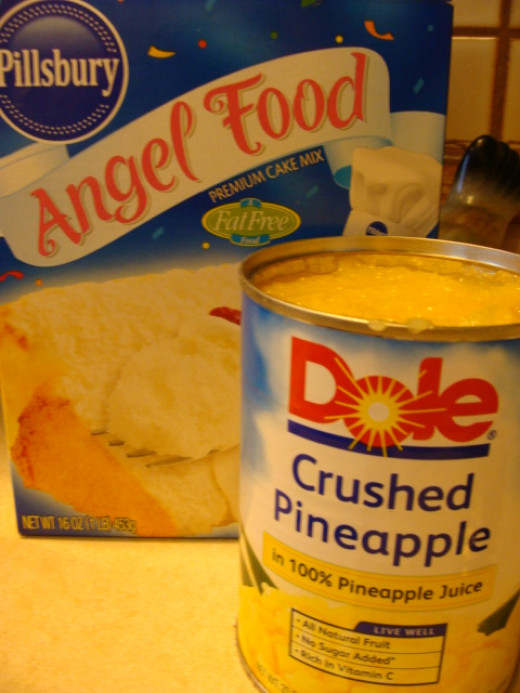 A 16 ounce boxed cake mix and a 20 ounce can of crushed pineapple.