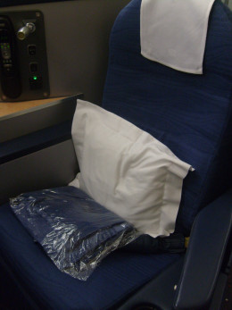 Each Envoy seat came with a cotton blanket and nice sized pillow