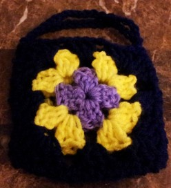 Crochet granny square mini gift bag