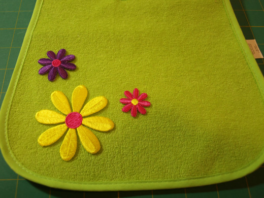 Flower applique ready to be sewn on.