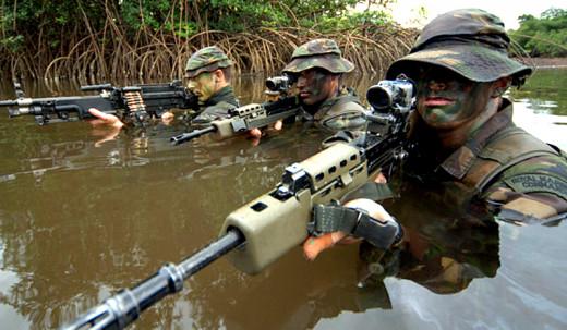 Royal Marine river crossing training.