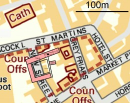 Leicester Greyfriars Church site map. Map is OSGB36 with the Church Choir suggested to be at SK58550438. The dotted brown line indicates the area Billson, 1920, identified as the extent of the Greyfriars grounds. The University of Leicester 2012 dig