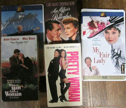 Romantic movies on VHS: just a few of the old tapes I can't seem to get rid of!