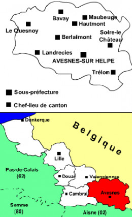 Map location of Avesnes, Nord department, France