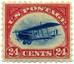 A 24 cent US airmail stamp from 1924. This stamp was one of the world's first airmail stamps.